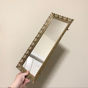 Vintage long gold vanity mirrored tray